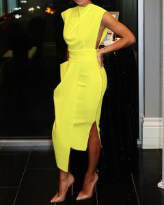 bright yellow side zipper dress