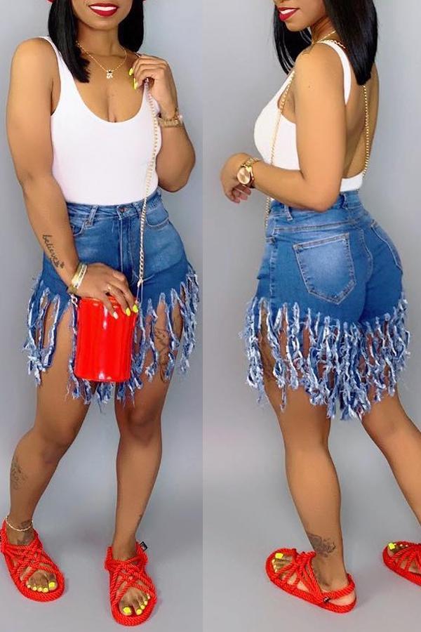 cut up shorts in denim