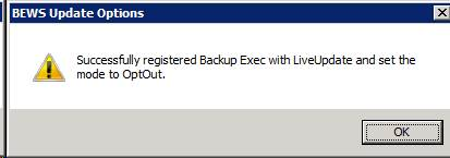 BackupExec 2010: Successfully registered Backup Exec with LiveUpdate