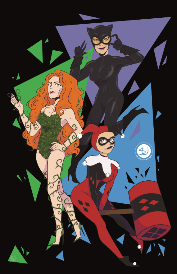 DC Lady Villains - Poison Ivy, Catwoman, & Harley Quinn
