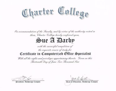Certificate Computerized Office Specialist