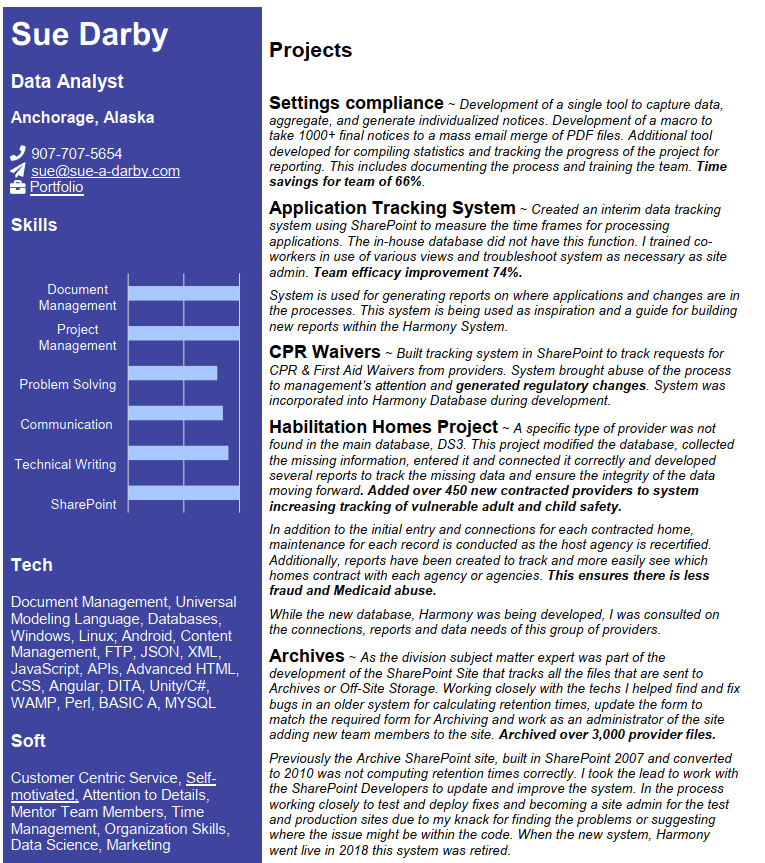Sue Darby Resume