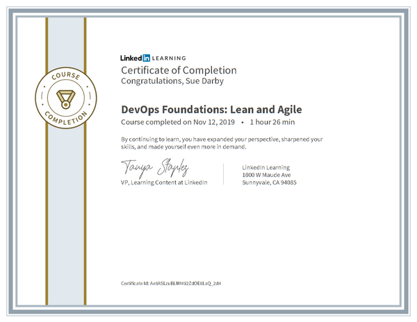 Certificate Of Completion Devops Foundations Lean And Agile