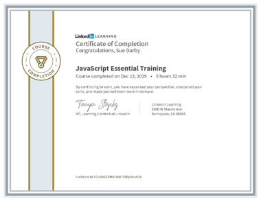 Certificate Of Completion Javascript Essential Training