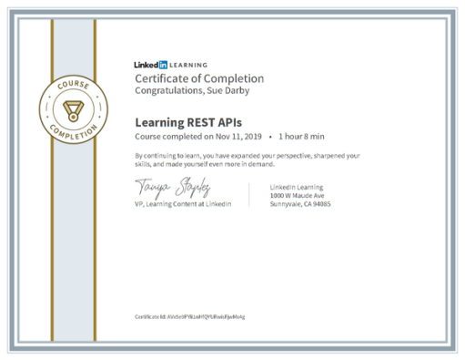 Certificate Of Completion Learning Rest Apis