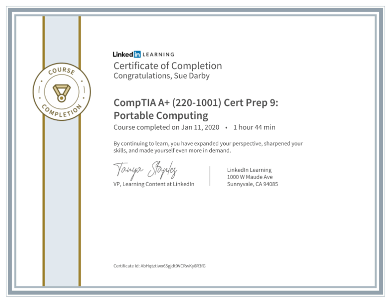 Certificate Of Completion Comptia A Plus 220 1001 Cert Prep 9 Portable Computing
