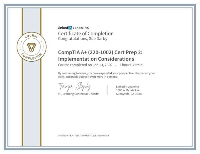 Certificate Of Completion Comptia A Plus 220 1002 Cert Prep 2 Implementation Considerations
