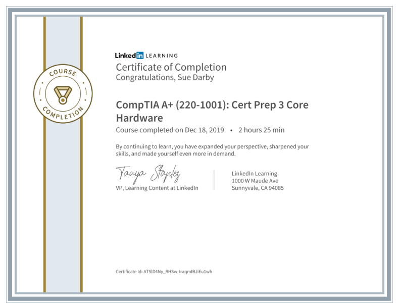 Certificate Of Completion Comptia A Plus 2201001 Cert Prep 3 Core Hardware