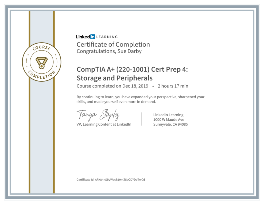 Certificate Of Completion Comptia A Plus 2201001 Cert Prep 4 Storage And Peripherals