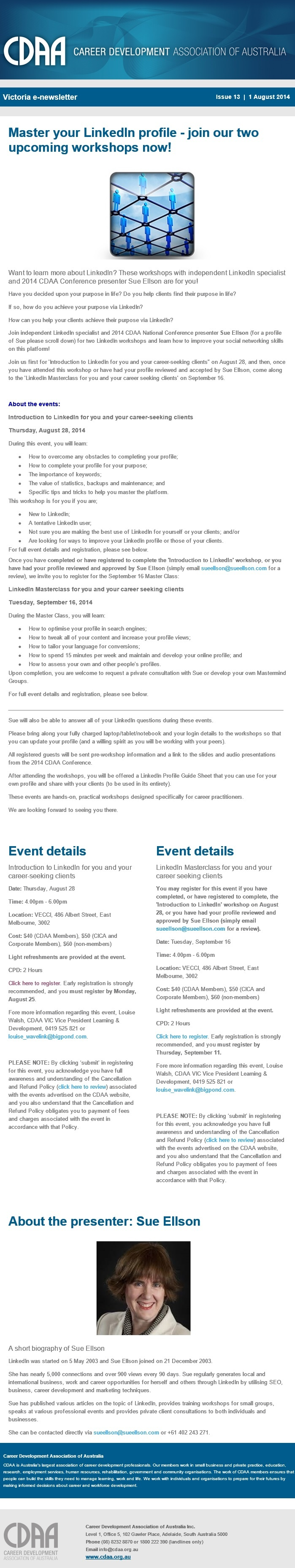Career Development Association of Australia Introduction to LinkedIn for you and your career-seeking clients