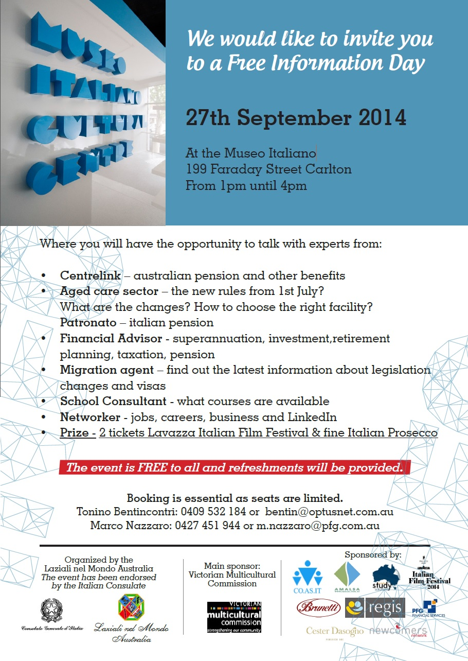 Free Information Day for Italians in Melbourne 27 September 2014