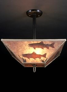 Rustic Lighting with Trout  Mica Lamp Shade  Ceiling Light Fixture     c144 Rustic lighting with trout fish swimming on a square mica lamp shade  Ceiling  Light