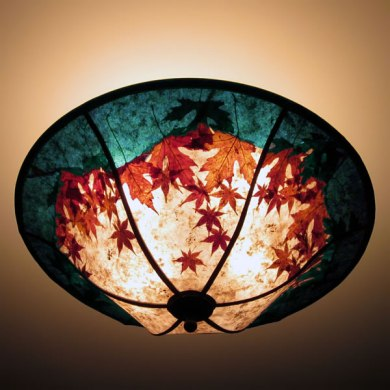 Round Mica Ceiling Light Fixture  Natural Red Maple Leaves with The     c264 Red Maple Leaves in the Midnight Moon Round Mica Ceiling Light