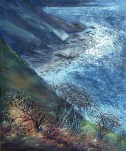 Millook midnight giclee print seascape