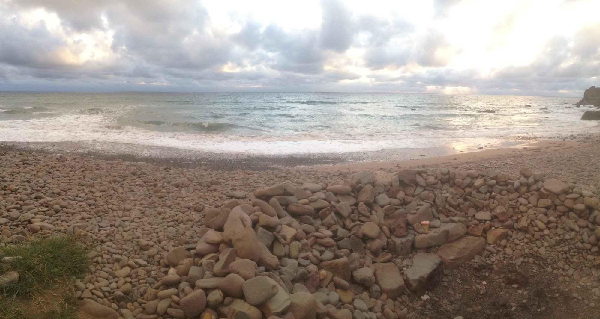 Panorama of beach, North Cornwall , evening seas