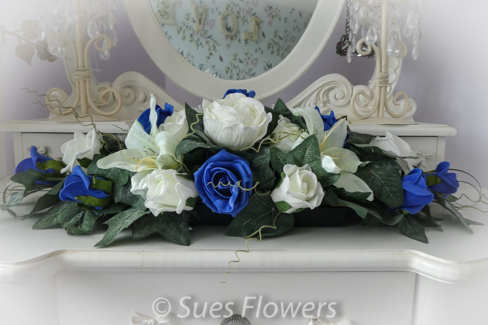 Top Table Centre Piece In Royal Blue And White Church Flowers Ect