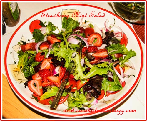 Wild Arugula Strawberry Red Onion Mint Salad