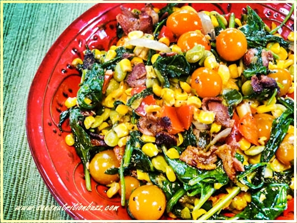 Skillet Spinach Corn With Edamame Cilantro & Bacon Bits #SundaySupper