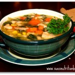 Chunky Chicken Bean Spinach Soup Spiked with Coconut Oil
