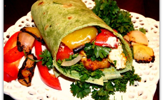 Chicken Kebab Wrap With Grilled Veggies & Tahini Sauce #SundaySupper