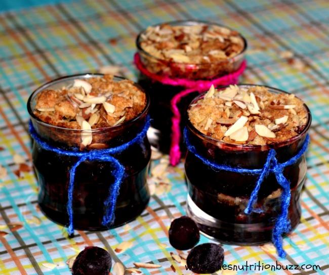 Light Cherry Almond Crumbles Baked In Jars #DessertsInJars