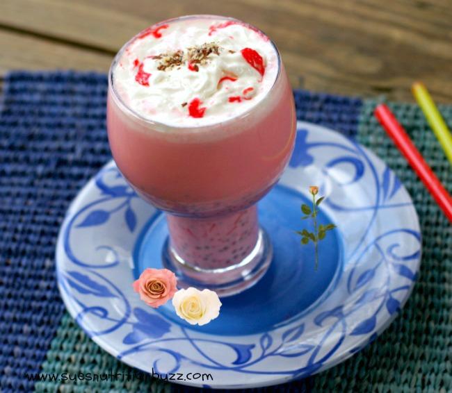 Rose Milk Almond Falooda (Indian Dessert Drink) With Chia Seeds #SundaySupper