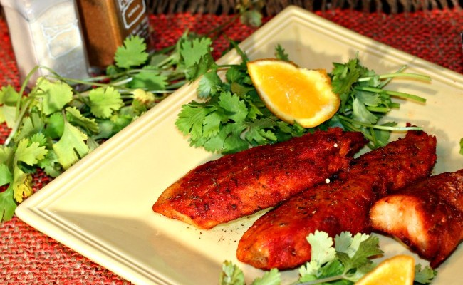 Heart Healthy Tandoori Fish Rolled In Walnuts & Baked In @NuWaveOvenPro