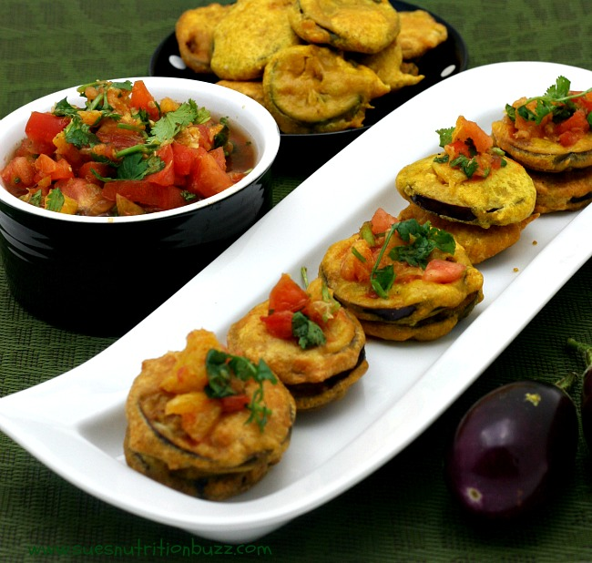 Eggplant Fritters With Orange Ginger Salsa #SundaySupper