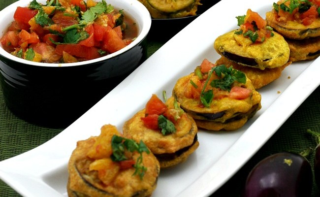 Eggplant Fritters With Orange Ginger Salsa #SundaySupper