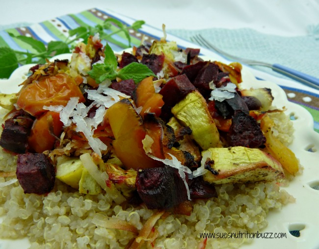 roasted vegetables over quinoa