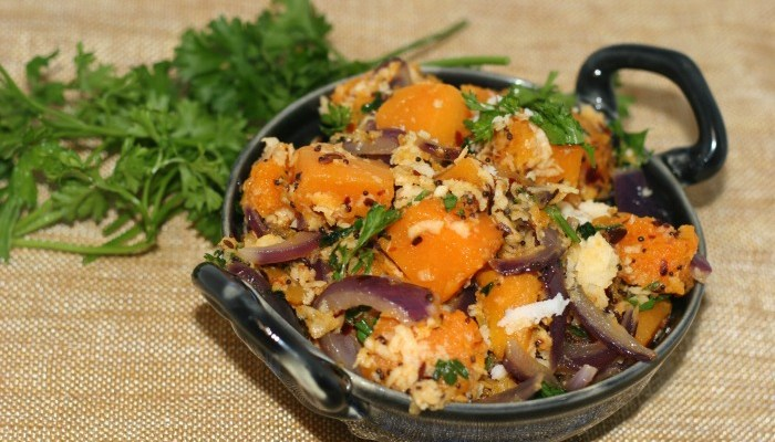 Savory Pumpkin with Red Onion Garlic and Coconut #SundaySupper