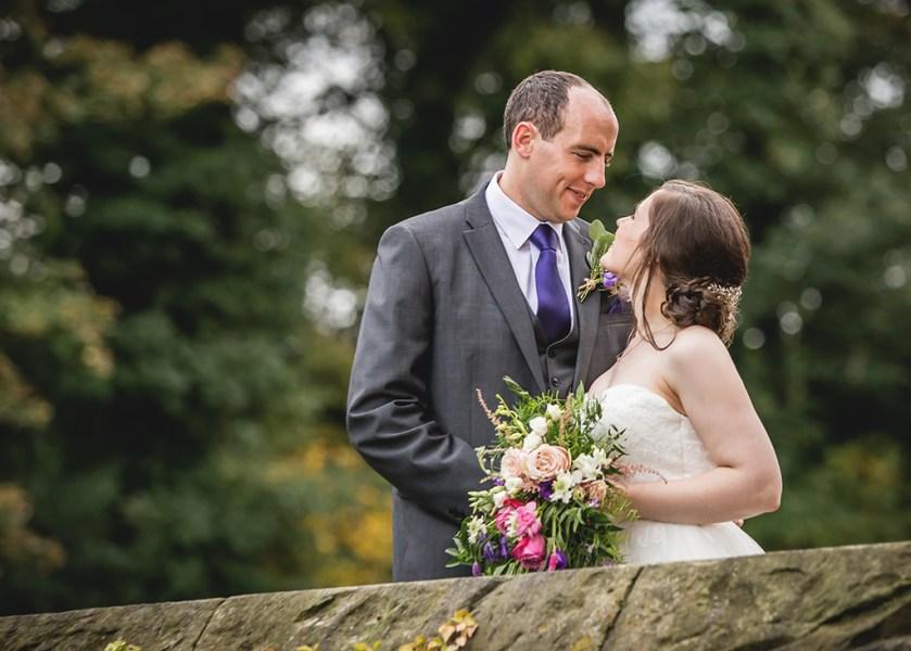 bride groom bridge and flowers