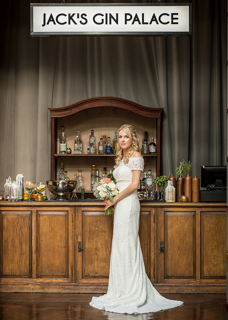 bride at gin bar wylam brewery