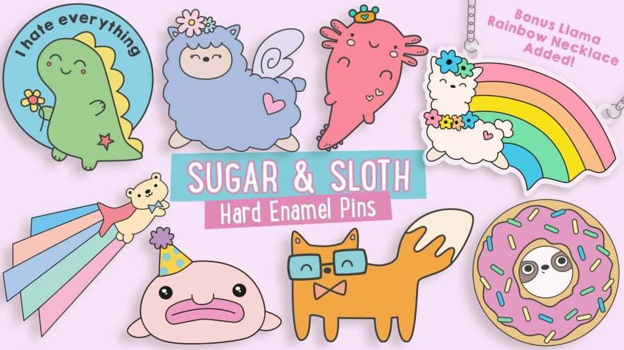 kickstarter sugar & sloth hard enamel pins