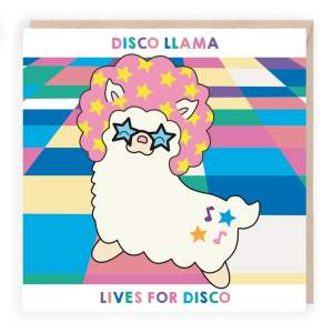 disco llama funny birthday card
