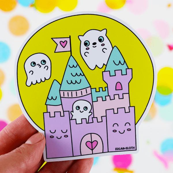 Spooky cutie haunted castle halloween vinyl sticker