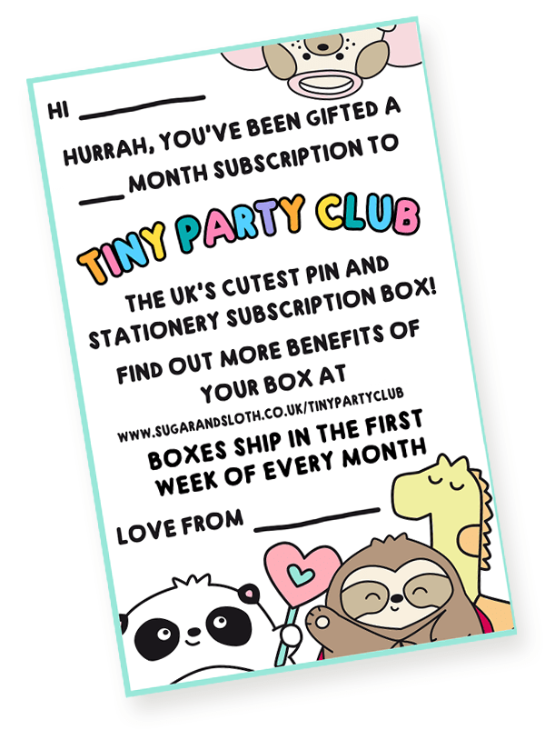 Tiny party Club thank you