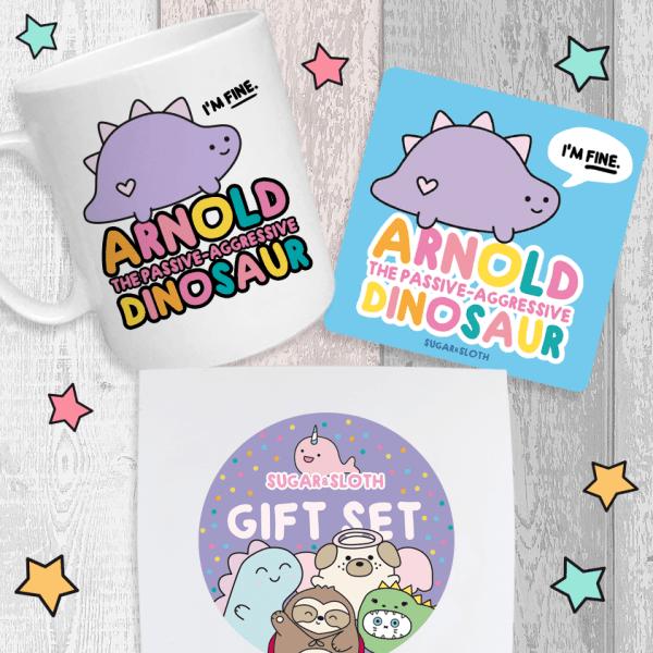 passive-agressive dinosaur gift set