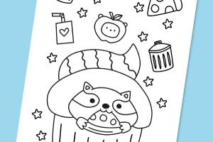 trash panda colouring sheet mock up