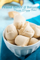 These Peanut Butter & Banana Frozen Doggy Bites are the perfect treat for the pups when the days are hot! Just two ingredients and 10 minutes to make!