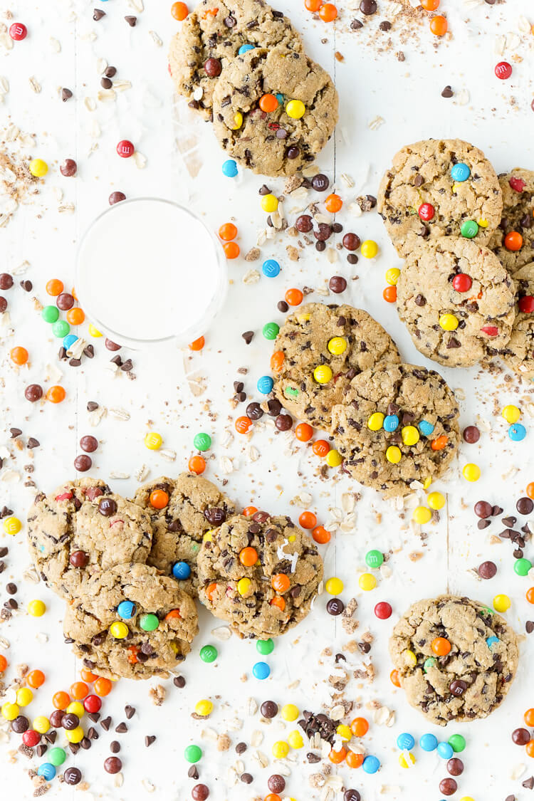 These Monster Cookies are sweet and chewy with a little bit of everything in them! M&M's, Reese's Pieces, Chocolate Chips, Oatmeal, Coconut, Toffee, and Sprinkles. They're the ultimate cookie and the first batch is out of the oven in less than 30 minutes!