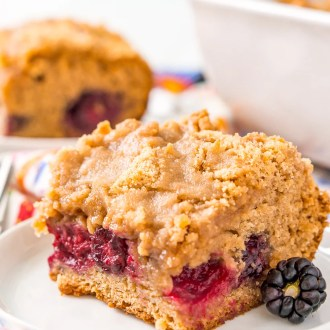 A sweet brown sugar coffee cake with a layer of fresh wild blackberries that are bursting with flavor!