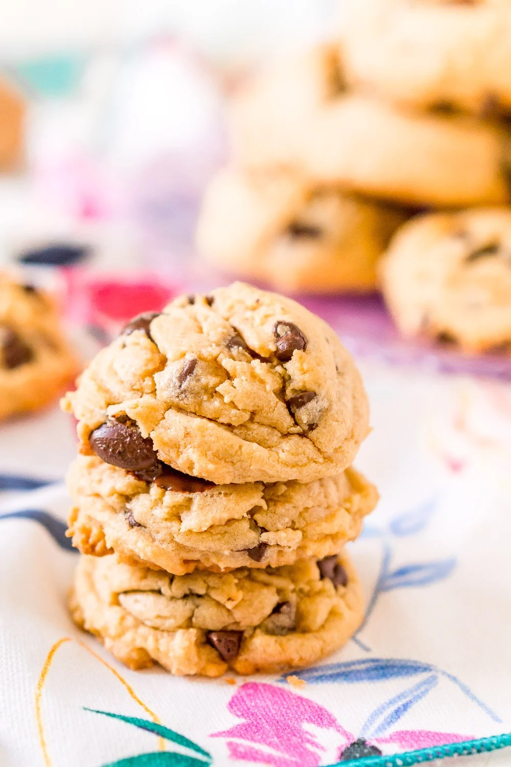 These Peanut Butter Chocolate Chip Cookies are soft and chewy and made with peanut butter, chocolate chips, vanilla pudding, brown sugar, and more!