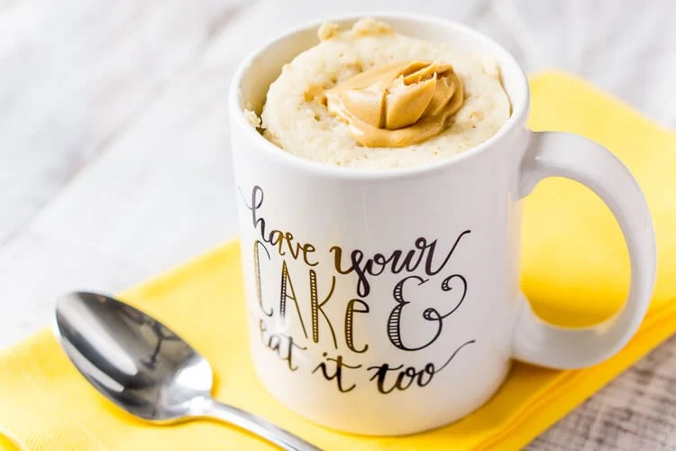 This Peanut Butter & Oatmeal Mug Cake is a simple and fast, sweet and salty fix for dessert or breakfast, it's ready in just 5 minutes!
