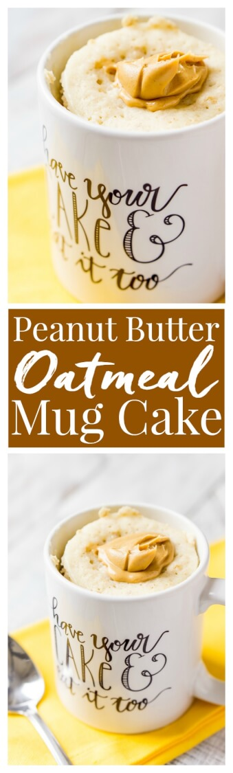 This Peanut Butter & Oatmeal Mug Cakeis a simple and fast, sweet and salty fix for dessert or breakfast, it's ready in just 5 minutes!