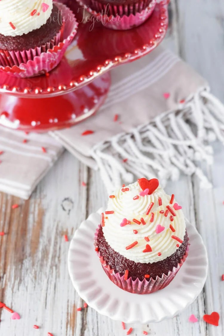 These 5-Ingredient Red Velvet Cupcakes are so easy to make, with a 2-ingredient red velvet base and a 3-ingredient cheesecake frosting, what's not to love! Whip them up for your Valentine in no time!