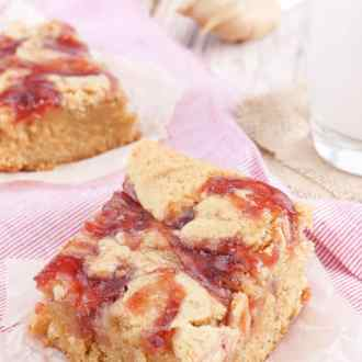 These Peanut Butter and Jelly Blondies are an easy dessert the whole family will love!