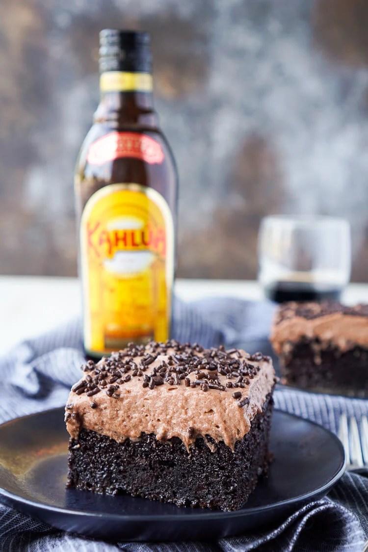 Boozy Kahlua Chocolate Poke Cake Recipe