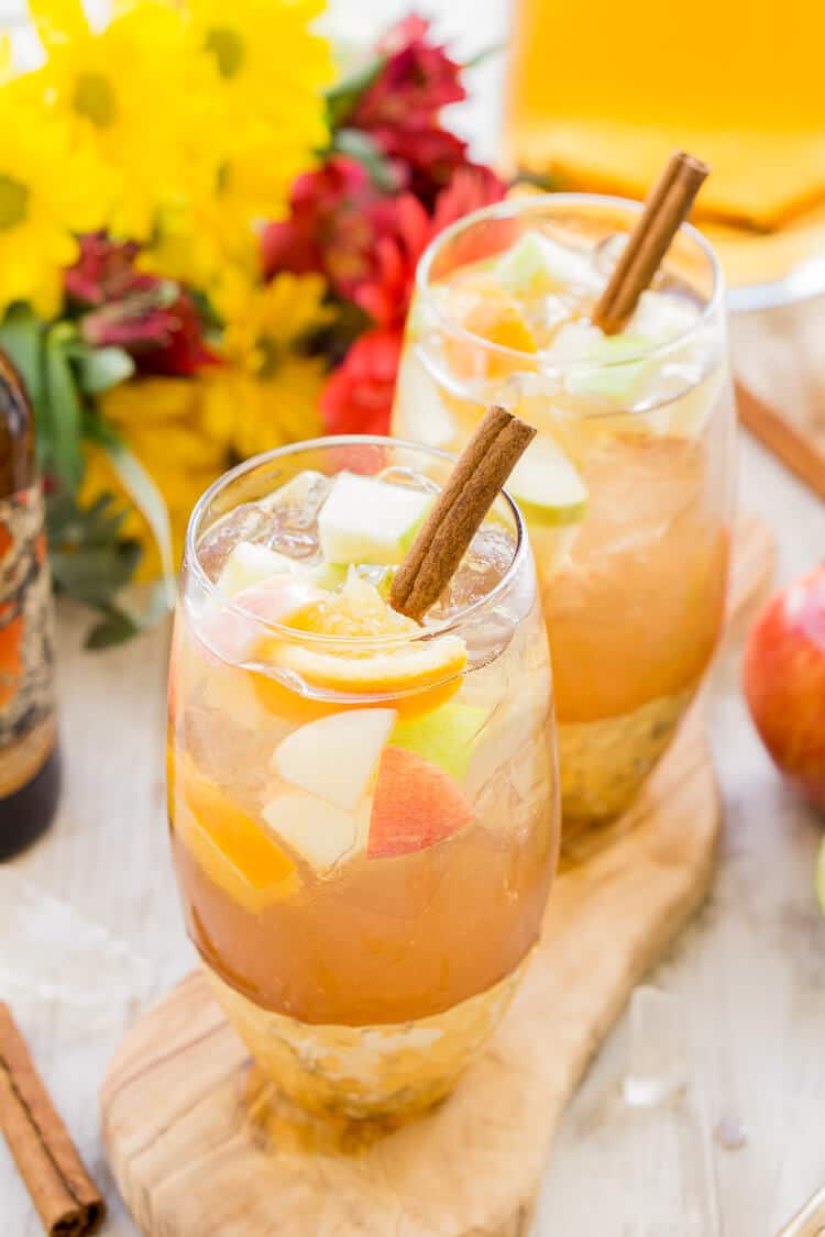 This Hard Apple Cider Sangria brings together the cozy flavors of apple, ginger, cinnamon, and citrus in a crisp and refreshing batch cocktail!