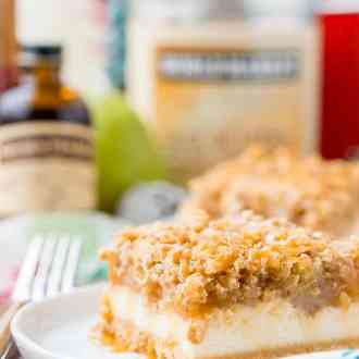 """These Caramel Pear Cheesecake Bars are inspired by """"a partridge in a pear tree"""" from the classic holiday song """"12 Days of Christmas."""" These decadent layered bars represent traditions old and new, and are a perfect dessert for sharing this holiday season!"""